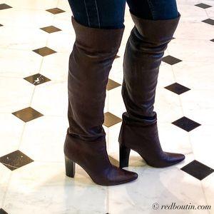 Bottega Veneta Over The Knee Brown Leather Boots
